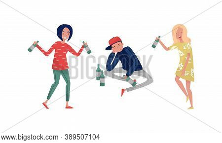 Smiling Drunk People Characters With Bottle Of Alcoholic Drink Vector Illustration Set