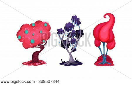 Fantastic Trees With Lush Crown And Trunk Vector Set