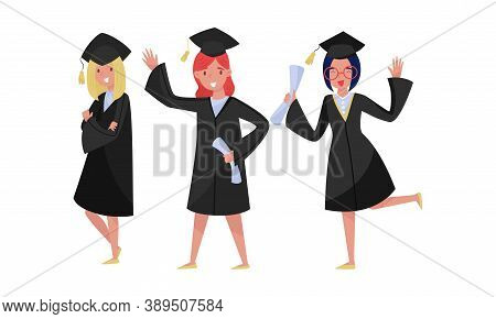 Delighted Girl Students In Academic Gown And Square Cap Cheering About Graduation Ceremony Vector Se