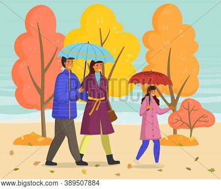 Rainy Weather, Father, Mother And Daughter With Umbrellas Walking In Autumn Park, Family Wearing War