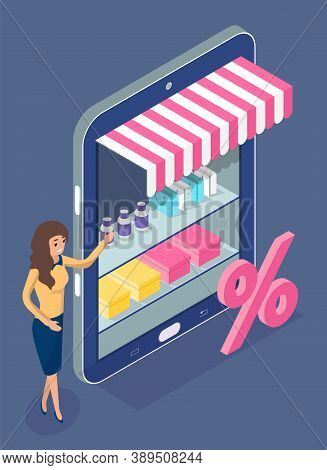 Online Shopping. Isometric 3d Digital Tablet With Online Shop. Woman Distributor Presenting Discount