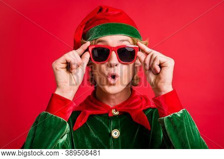 Portrait Of Astonished Elf Guy Look X-mas Christmas Discounts Touch Hands Specs Isolated On Bright R