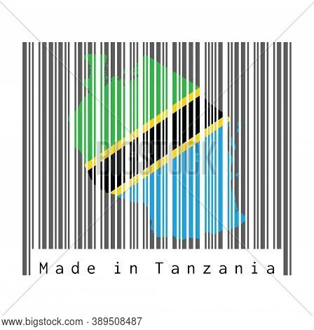 Barcode Set The Shape To Tanzania Map Outline And The Color Of Tanzania Flag On Dark Grey Barcode Wi