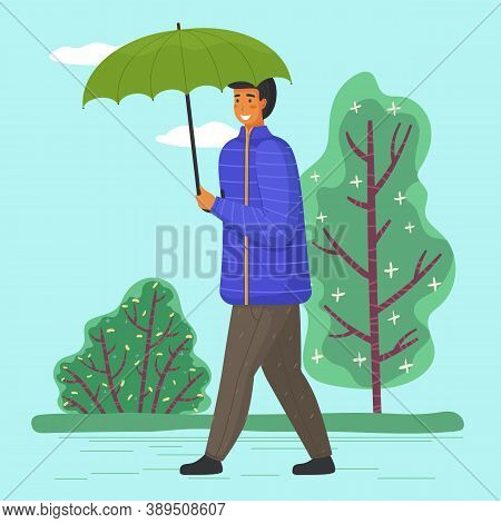 Guy With Umbrella Walking, Male Smiling Wearing Warm Clothes Jacket And Pants, Young Adult Man With