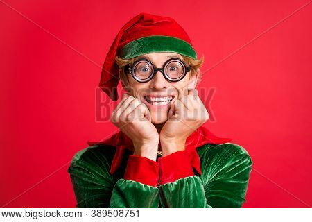 Portrait Of Funky Elf Guy Touch Fists Cheeks X-mas Present Wait Concept Wear Geek Style Specs Isolat