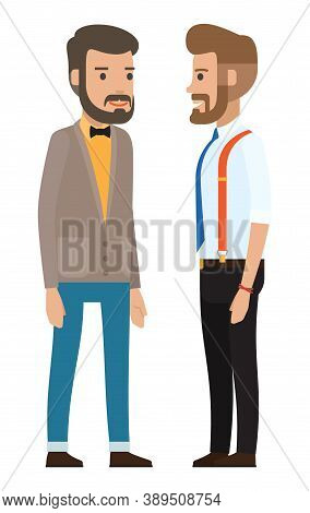 Dresscode Of Stylish Businessman, Cartoon Characters In Flat Style, Stylish Businesspeople Wearing O