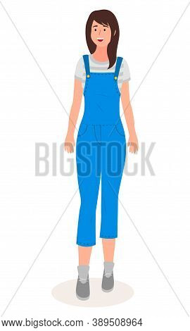 Isolated Cartoon Character. Young Woman Wearing Overalls Smiling. Cheerful Happy Brown-haired Girl.