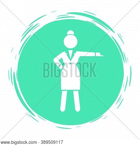 Green Circle Logo Or Avatar With Business Woman Wearing Office Dress. Business Lady Show Her Hand An