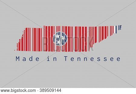 Barcode Set The Shape To Tennessee Map Outline And The Color Of Tennessee Flag On Grey Background, T