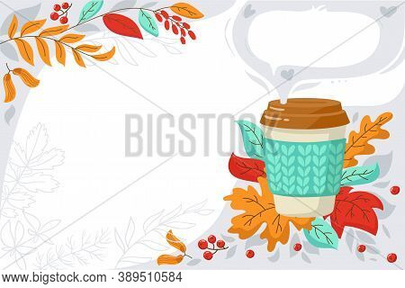 Banner For  Promotions, Coffee Shop, Flyer, Sale, Advertising. Autumn Red, Yellow Leaves And A Cup O
