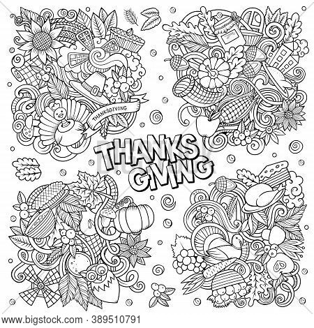 Happy Thanksgiving Day Cartoon Vector Doodle Illustration. Sketchy Detailed Designs With Lot Of Sepa