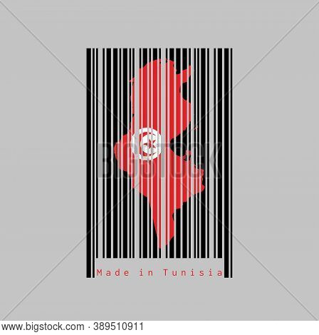 Barcode Set The Shape To Tunisia Map Outline And The Color Of Tunisia Flag On Black Barcode With Whi