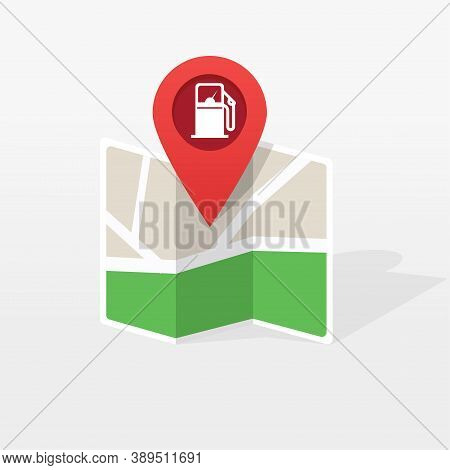 Gasoline Petroleum Fuel Station On City Map Location Pointer Marker Vector Illustration Flat Cartoon
