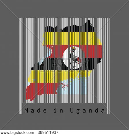 Barcode Set The Shape To Uganda Map Outline And The Color Of Uganda Flag On Grey Barcode With Dark G