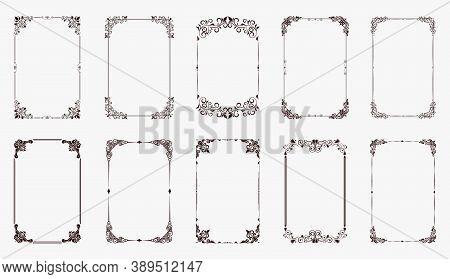 Set Of Decorative Vintage Frames And Borders Set. Vintage Calligraphic Frames. Decorative Wedding Fr