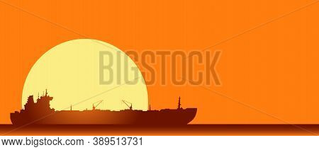 Huge Crude Oil Tanker In The Sea. Vector Landscape