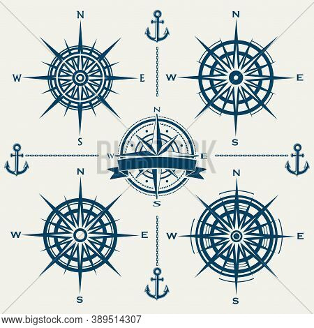 Set Of Vector Compass Roses Or Wind Roses