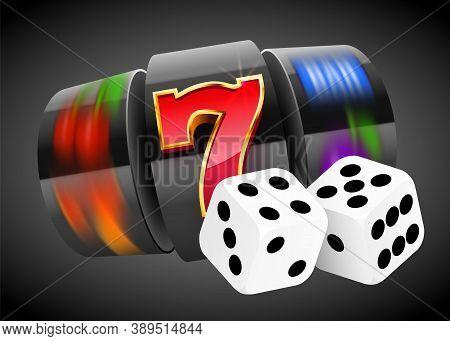 Golden Slot Machine And Pair Of Dice Wins The Jackpot. 777 Big Win Concept. Casino Jackpot.