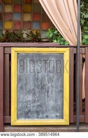 Signboard On The Street. Empty Menu Board Stand. Restaurant Sidewalk Chalkboard Sign Board. Blackboa