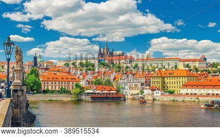Panorama Of Prague City Historical Centre With Prague Castle, St. Vitus Cathedral In Hradcany Distri