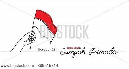 Selamat Hari Sumpah Pemuda, Happy Indonesian Youth Pledge Day, Simple Vector Banner, Poster, Backgro