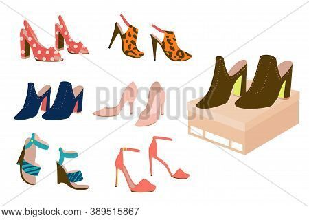 Set Of High Heel Female Shoes: Slingbacks, Pumps, Wedge-heeled Shoes, Clogs, Stilettos, Isolated On