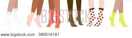 Six Female Pairs Of Legs In High Heels And Socks: Slingbacks, Pumps, Wedge-heeled Shoes, Clogs, Stil