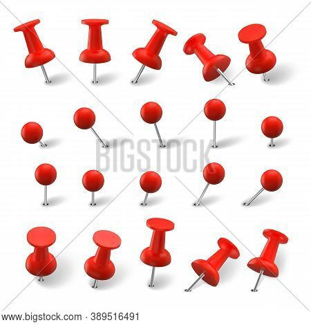Realistic Pins Set. Collection Of Realism Style Drawn Colorful Office Red Pushpin Thumbtack Template