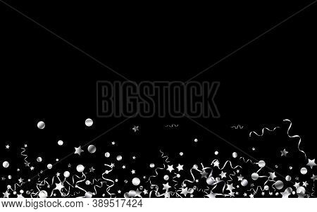Silver Confetti Flying Vector Black Background. Celebration Star Plant. Ribbon Celebrate Branch. Sil