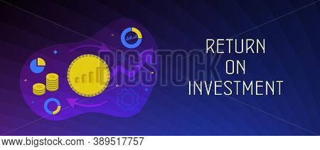 Roi - Return On Investment Business Concept. Financial Marketing Profit Income Strategy Web Graphic.