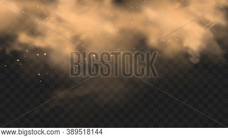 Dust Sand Cloud With Stones And Flying Dusty Particles Isolated On Transparent Background. Desert Sa