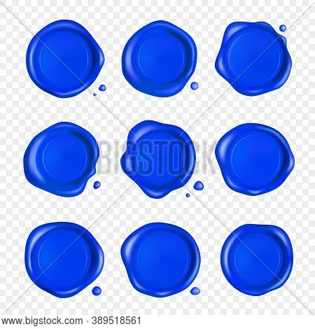 Blue Wax Seal Set. Wax Seal Stamp Set With Drops Isolated On Transparent Background. Realistic Guara