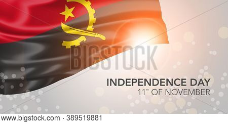 Angola Happy Independence Day Vector Banner, Greeting Card