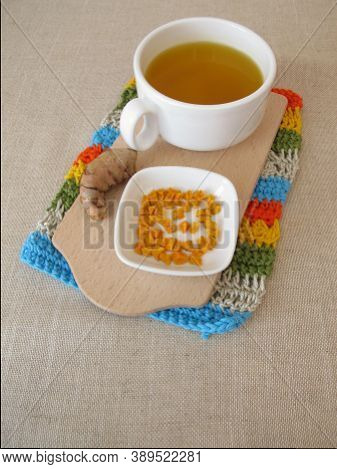 Golden Yellow Spice Tea With Dried Turmeric