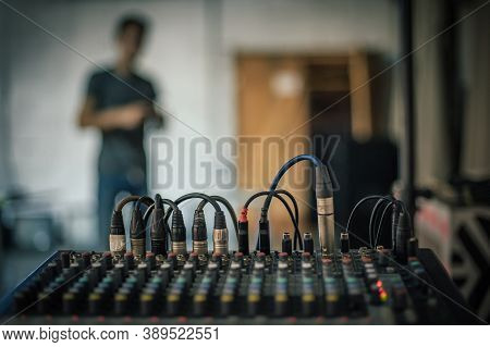 Behind The Scene. Sound Technician Electric Engineer Adjusting Sound Elements