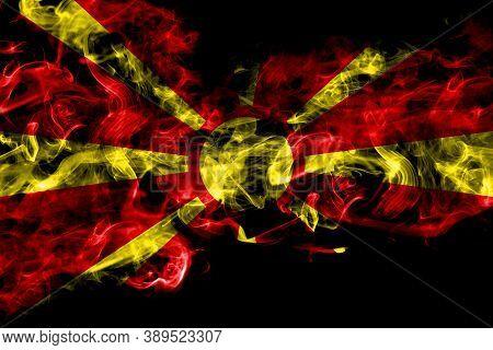 Macedonia, Macedonian Smoke Flag Isolated On Black Background