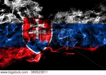 Slovakia, Slovakian Smoke Flag Isolated On Black Background