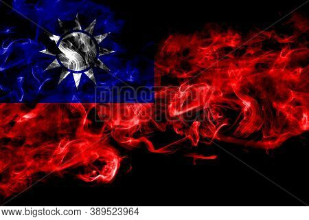 Taiwan, Taiwanese, China, Chinese Smoke Flag Isolated On Black Background