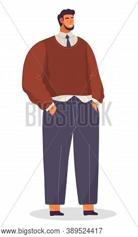 Businessman Portrait, Executive Smiling Man Wearing Sweater, Shirt And Tie, Pants, Cheerful Confiden