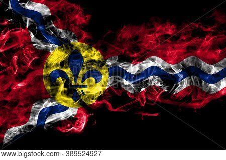 United States Of America, America, Us, Usa, American, Saint Louis, Missouri Smoke Flag Isolated On B