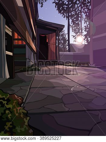 Background Of The Courtyard At The Country House On Bright Summer Moonlit Night