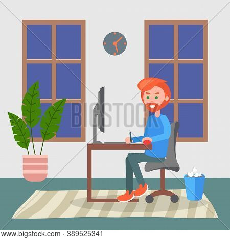 Programmer Adult Man Sitting At Table And Using Computer. Quarantine Distance Work. Freelance Work A