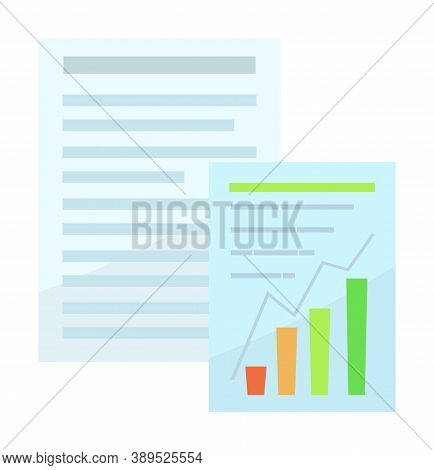 Blank With Text Block. Financial Report With Growing Graphic Or Chart. Paper Sheets With Business Pl