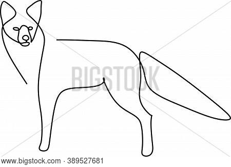 Continuous One Line Drawing Of A Fox Standing