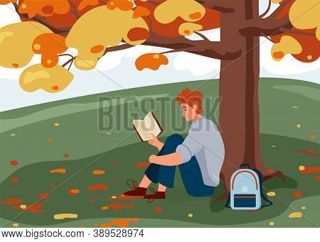 Man Reading Book Vector Background. Male Character Comfortable Sitting On The Grass Under Big Tree W