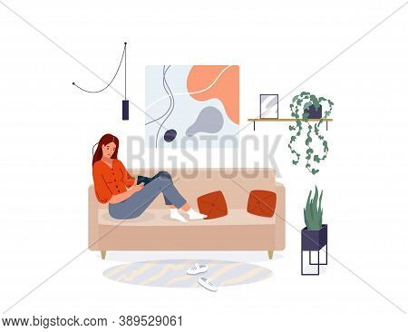 Woman Reading Book Vector Background. Relaxed Girl Sitting On The Sofa And Read, Isolated On White B