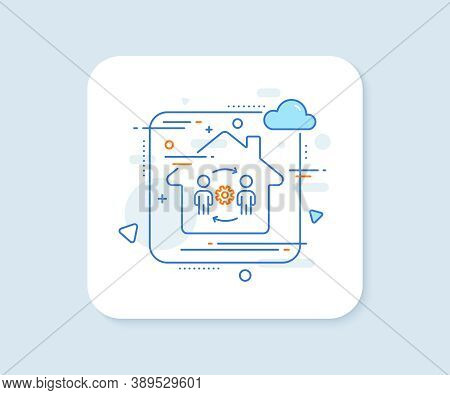 Engineering Team Line Icon. Abstract Vector Button. Engineer Or Architect Group Sign. Working Proces