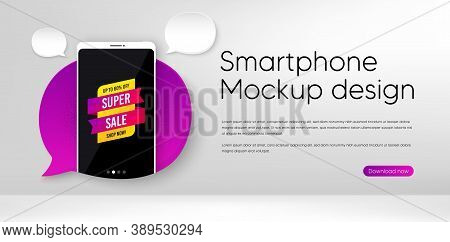 Super Sale Banner. Mobile Phone Vector Mockup. Discount Sticker Shape. Coupon Tag Icon. Smartphone M