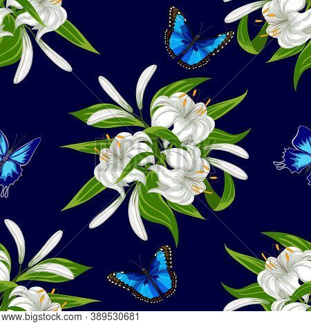 Lily Pattern On A Colored Background.bouquets Of White Lilies And Beautiful Butterflies In A Color P