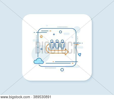 Queue Line Icon. Abstract Square Vector Button. People Waiting Sign. Direction Arrow Symbol. Queue L